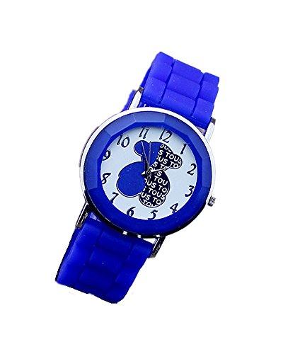 SAMGU Beilaeufige Art und Weise Dame Maedchen cute Baern Analog Silikon Uhr Armbanduhren Uhren Farbe Blau