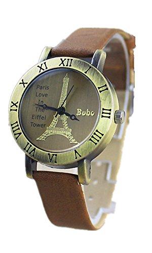 SAMGU Leder Uhr Eiffelturm Kleid Quarz Uhren 2014 New Fashion Vintage Style Watch Farbe Braun