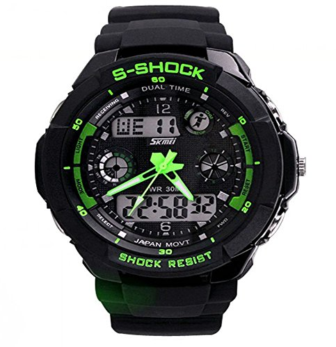 SAMGU Abs Silikon gummi led Digital Uhr mann sport Military Watch Wasserdicht Farbe Gruen