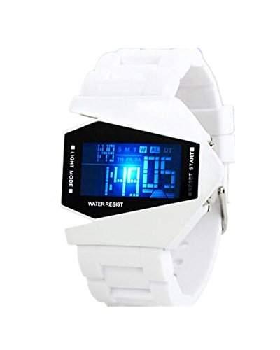 SAMGU Cool Plane Style Sport Armbanduhr Herren LED Digital Uhr Farbe Weiss
