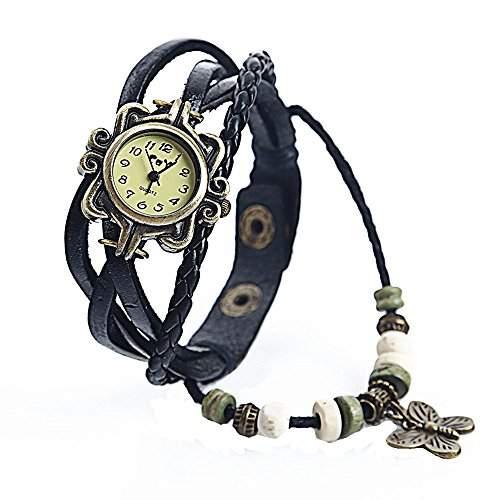 SAMGU Leder Retro Frauen Kleid Quarz Armbanduhr Schmetterling Perlen Armband Uhr Farbe Schwarz