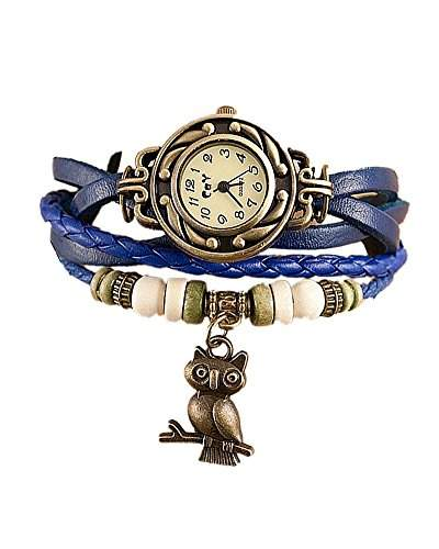 SAMGU Retro Eulen Wrap Armband Uhr Casual Women Quarz Armbanduhr Farbe Blau