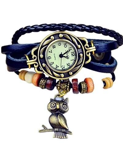 SAMGU Lederband Bronze Damen quarz uhren Weinlese frauen armband uhr eule Charm Farbe Blau
