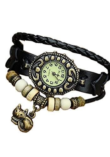 SAMGU Leder Damen Quarz Analog Antike Uhr dame armband Vintage armbanduhr Mit Kaetzchen katze anhaenger Farbe Schwarz