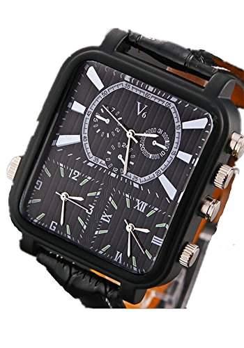 SAMGU Leder Mehrere Luxus Zeitzone Militaeruhren Herren Sport Uhr Business Rechteck analoge Uhr Farbe Schwarz