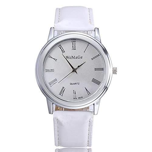 SAMGU Leder New Fashion Watch Classic Design Quarz Damen Armbanduhr Farbe Weiss