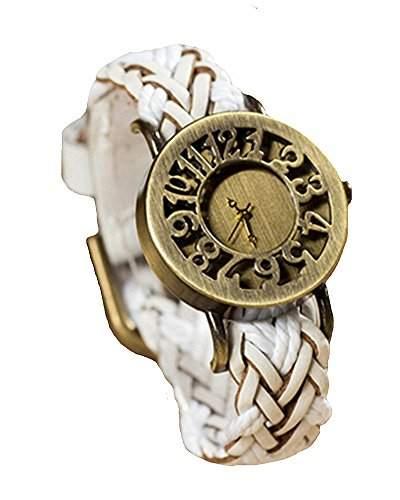 SAMGU Leder Damen Armbanduhr Quarz Art New Weave Watch Classic Damen Weinlese Uhr Farbe Weiss