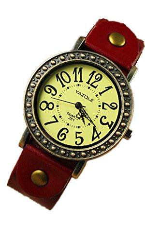 SAMGU Leder Young Sports Stunden Frauen Laessige Vintage Watches Uhr Ladies Dress Armbanduhren New 2014 Farbe Rot