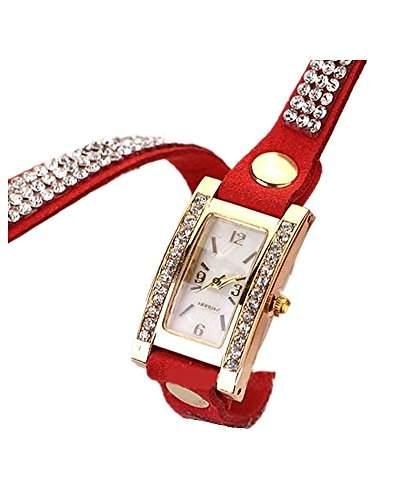SAMGU Frauen Weinlese Quadrat Vorwahlknopf Rhinestone Webart Wrap Leder Armband Armbanduhr Rot