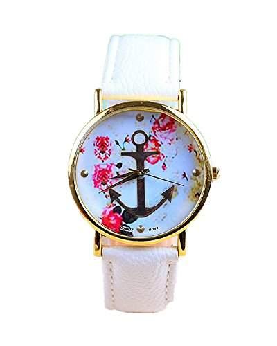 SAMGU Vintage Retro Uhren Blume Damen Armbanduhr Anker Leather Quarz uhr weiss