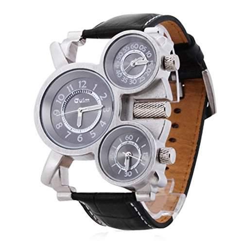 SAMGU Herren mechanisches Uhrwerk Uhren Vintage Dreifach Ziffernblatt Armbanduhr schwarz