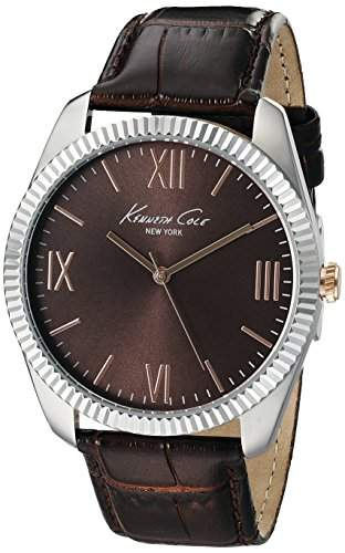 Kenneth Cole New York Mens 10019681 Silver-Tone Watch with Brown Dial and Brown Strap