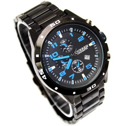 Accmart TM CURREN Sport Quarz Stunden Datum Hand blaues Zifferblatt Uhr-Stahlarmbanduhr