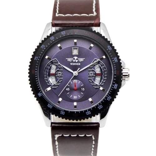 Accmart TM Herren Maenner automatische mechanische Armbanduhr Lederband Armbanduhr Lila