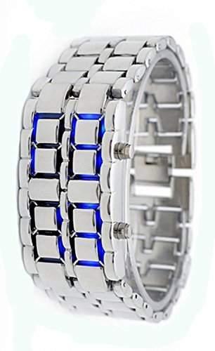 Accmart Moderne Lava LED Edelstahl Metall Armbanduhr Silber Armband Blaue Digitale Anzeige fuer Maenner und Frauen
