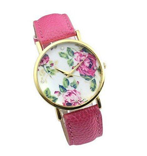 Accmart Vintage Blume Damen Armbanduhr Basel Stil Quarzuhr Lederarmband Uhr Top Watch Rosa