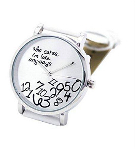 Accmart Who Cares Fashion Damenuhr Kunstleder Buchstaben Quarz Armbanduhr Elegante Damen Uhr weiss