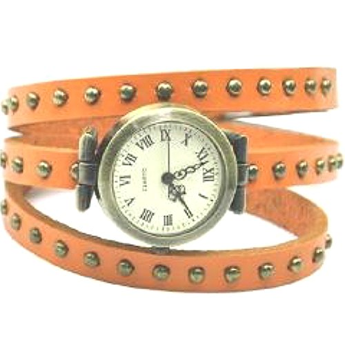 Accmart Fashion Damen Retro Quarzuhr Armkette Armreif Leder Punk Armbanduhr Orange