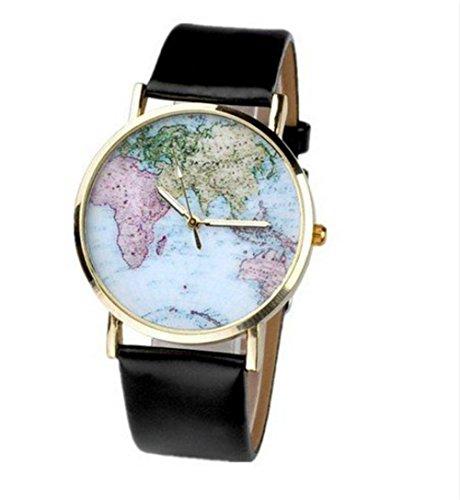 Accmart Retro Weltkarte Uhr Lederausstattung Leichtmetall Damen Analoge Quarz Armbanduhr Unisex Schwarz