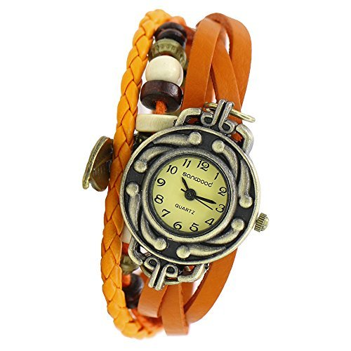 Damen Retro Baum Blatt Leder Armkette Armband Armbanduhr Uhren Uhr Watches Orange