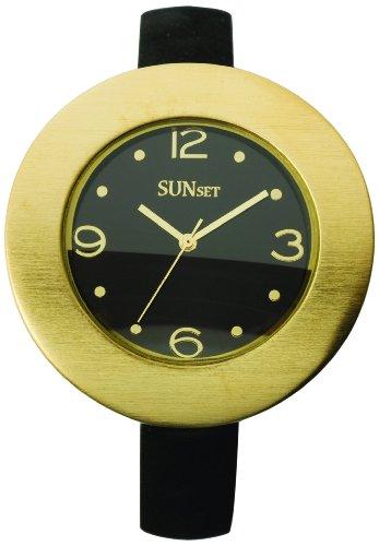 Sunset 1803 Damen Armbanduhr Quarz Analog Zifferblatt schwarz Armband Leder schwarz