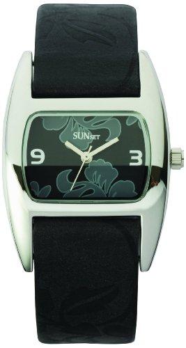 Sunset 1820 Damen Armbanduhr Quarz Analog Zifferblatt schwarz Armband Leder schwarz
