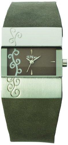 Sunset 1847 Damen Armbanduhr 045J699 Analog grau Armband Leder grau