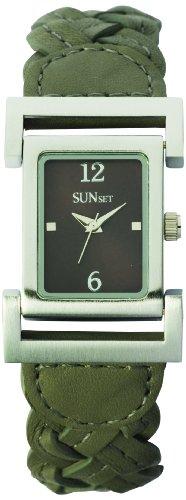 Sunset 1851 Damen Armbanduhr 045J699 Analog grau Armband Leder grau
