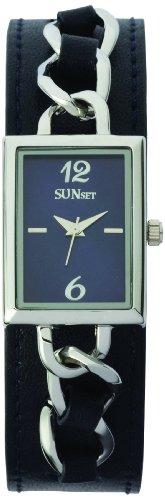 Sunset 1864 Damen Armbanduhr Quarz Analog Zifferblatt Blau Armband Leder marineblau