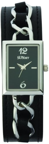 Sunset 1865 Damen Armbanduhr Quarz Analog Zifferblatt schwarz Armband Leder schwarz