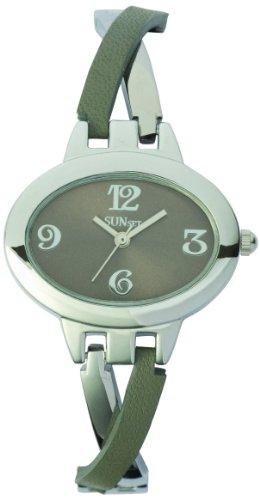 Sunset 1871 Damen Armbanduhr 045J699 Analog grau Armband Leder grau
