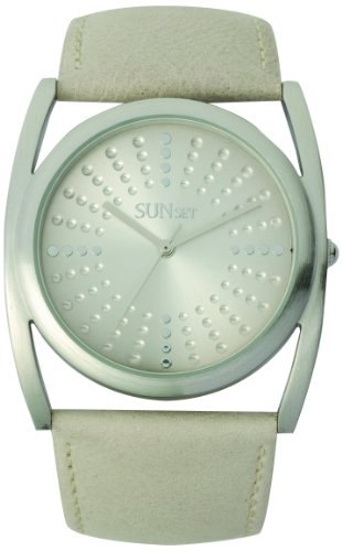 Sunset 1924 Damen Armbanduhr 045J699 Analog beige Armband Leder beige