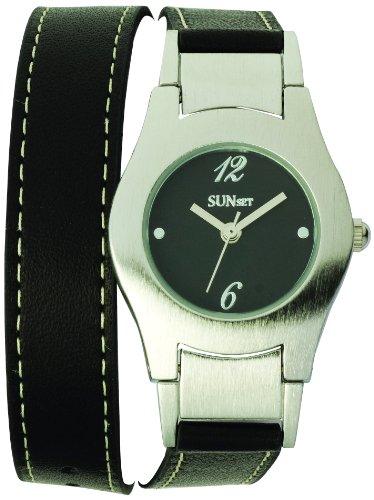 Sunset 1956 Damen Armbanduhr Quarz Analog Zifferblatt schwarz Armband Leder schwarz