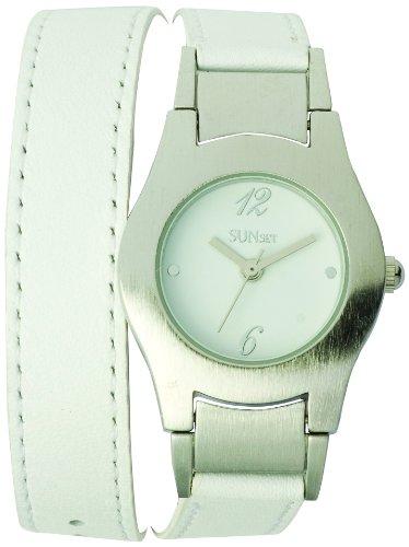 Sunset 1958 Damen Armbanduhr Quarz Analog Weisses Ziffernblatt Armband Leder Weiss