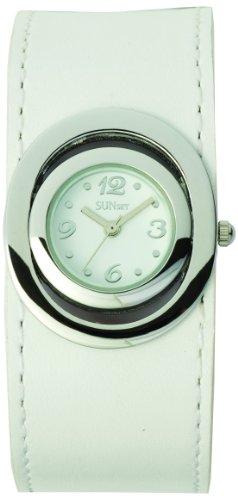 Sunset 1982 Damen Armbanduhr Quarz Analog Weisses Ziffernblatt Armband Leder Weiss