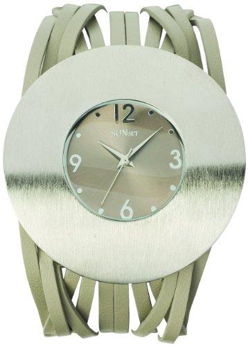 Sunset 2002 Damen Armbanduhr 045J699 Analog grau Armband Leder grau