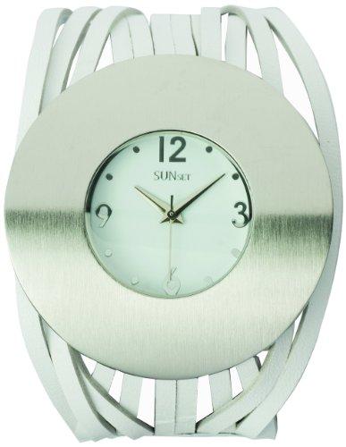 Sunset 2003 Damen Armbanduhr Quarz Analog Weisses Ziffernblatt Armband Leder Weiss