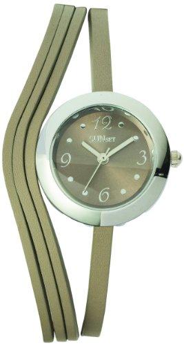 Sunset 2020 Damen Armbanduhr 045J699 Analog beige Armband Leder beige