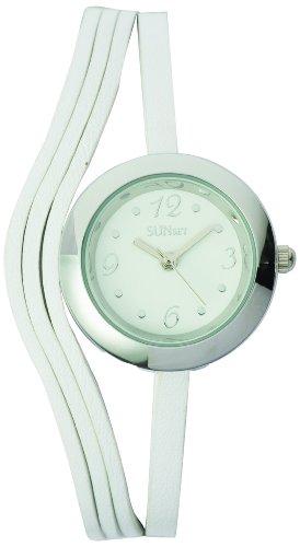 Sunset 2021 Damen Armbanduhr Quarz Analog Weisses Ziffernblatt Armband Leder Weiss