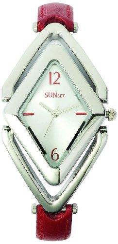 Sunset 2046 Damen Armbanduhr 045J699 Analog silber Armband Leder Rot