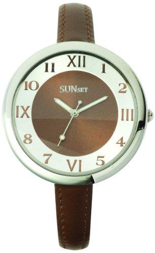 Sunset 2059 Damen Armbanduhr 045J699 Analog braun Armband Leder braun