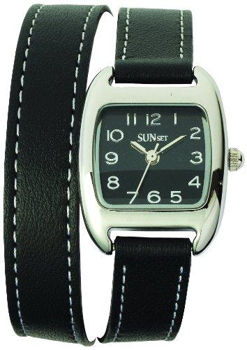 Sunset 2069 Damen Armbanduhr Quarz Analog Zifferblatt schwarz Armband Leder schwarz
