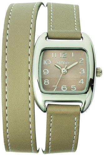Sunset 2072 Damen Armbanduhr 045J699 Analog beige Armband Leder beige
