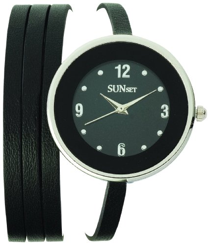 Sunset 2080 Damen Armbanduhr Quarz Analog Zifferblatt schwarz Armband Leder schwarz