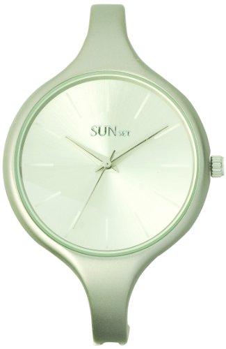 Sunset 2088 Damen Armbanduhr 045J699 Analog silber Armband Metall grau