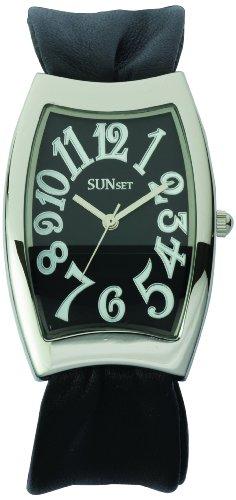 Sunset 2151 Damen Armbanduhr Quarz Analog Zifferblatt schwarz Armband Leder schwarz