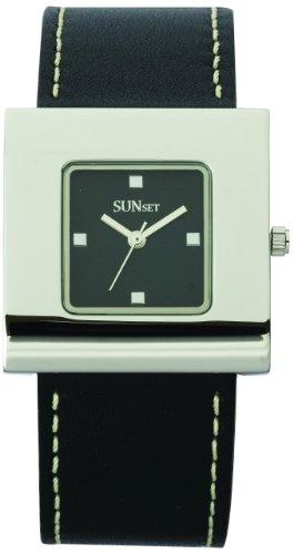Sunset 2167 Damen Armbanduhr Quarz Analog Zifferblatt schwarz Armband Leder schwarz