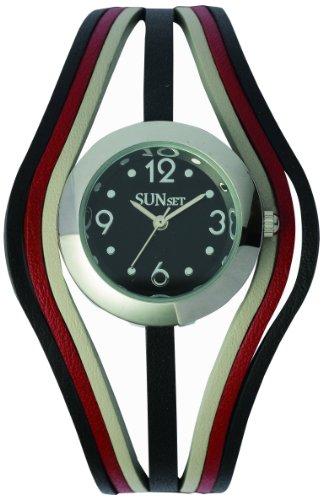 Sunset 2229 Damen Armbanduhr Quarz Analog Zifferblatt schwarz Armband Leder Mehrfarbig