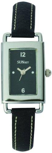 Sunset 2275 Damen Armbanduhr Quarz Analog Zifferblatt schwarz Armband Leder schwarz