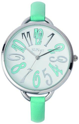 Sunset 2326 Damen Armbanduhr Quarz Analog Weisses Ziffernblatt Armband Leder tuerkis
